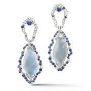IND1059 Platinum Moonstone Diamond and Sapphire Earrings