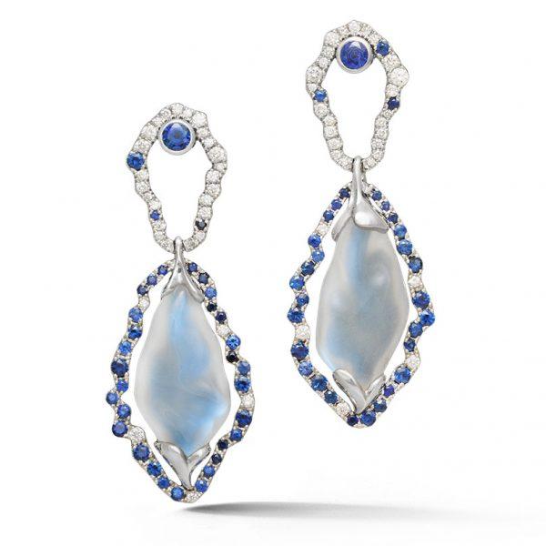 Platinum Moonstone Earrings