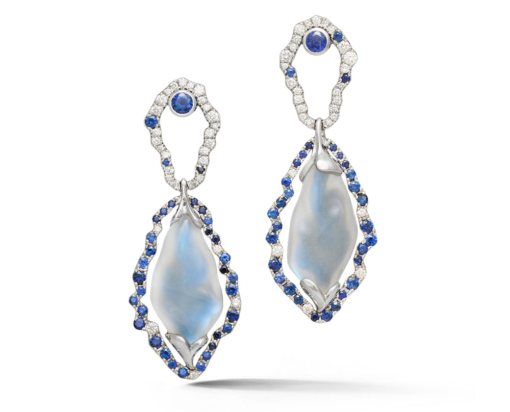 Platinum Moonstone Earrings