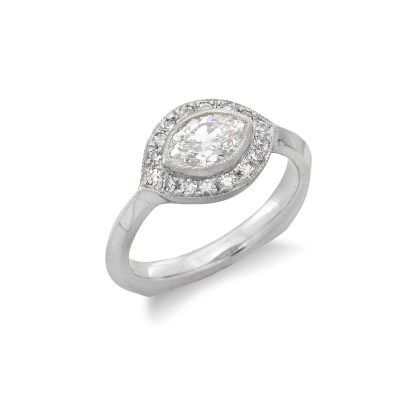 C5424 Sideways Marquise Diamond Halo