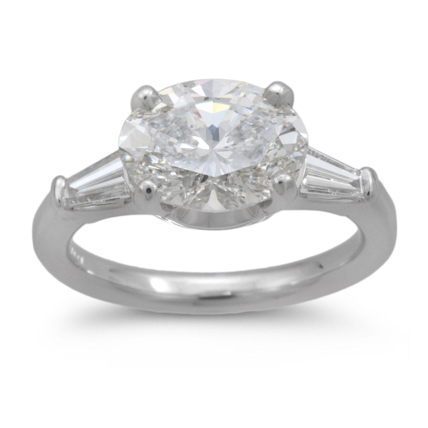 C6612 Saddle Set Oval Diamond Engagement Ring