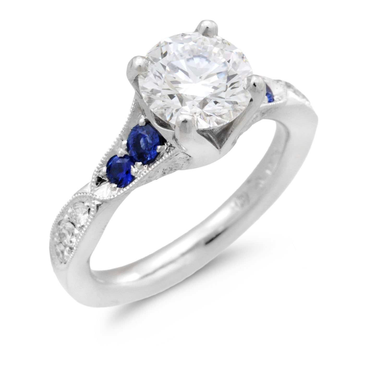 C6616 Platinum Engagement ring with Sapphires