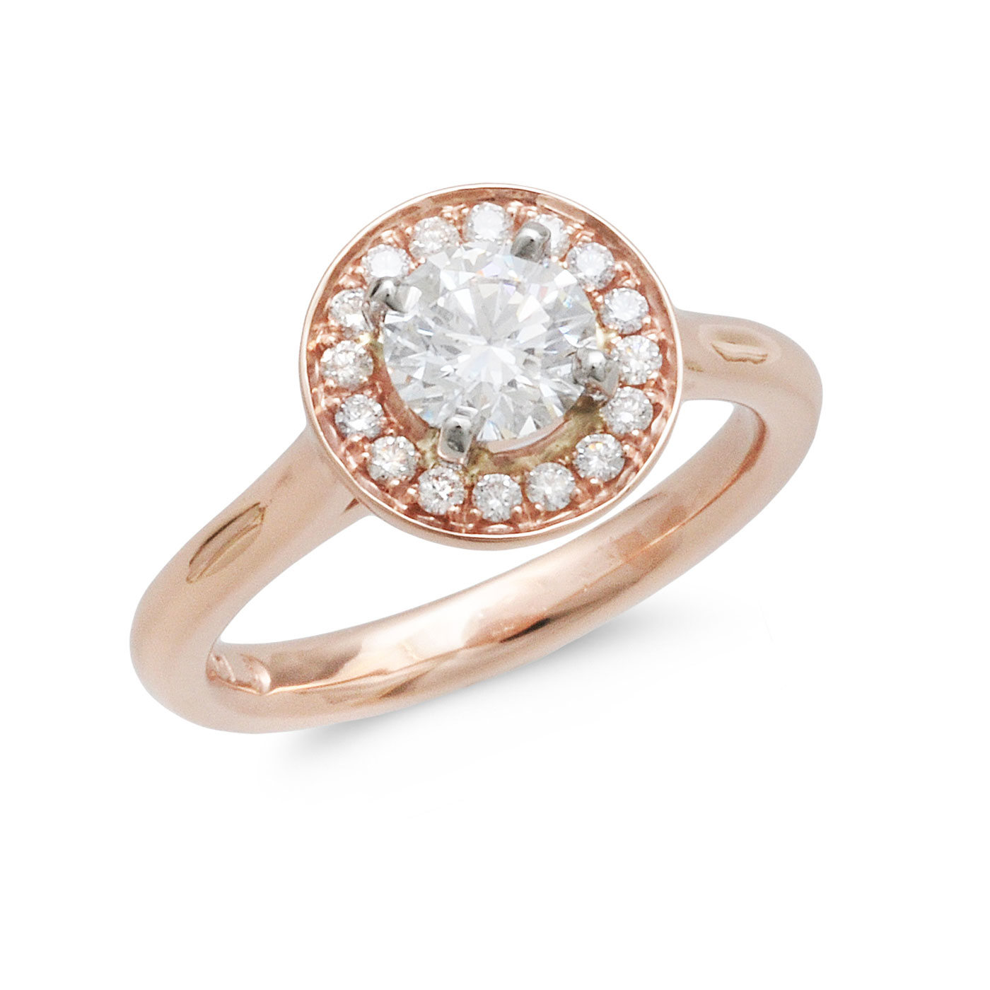 C6883 Round Rose Gold Halo Engagement Ring