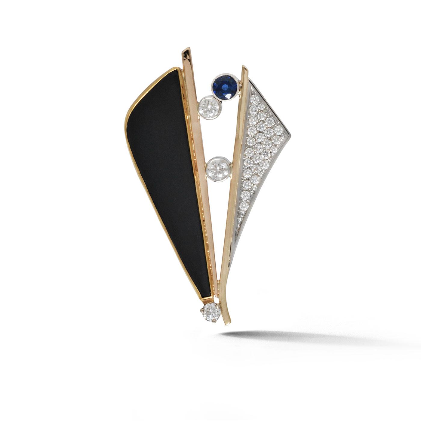 C7040 Custom Diamond and Sapphire Brooch