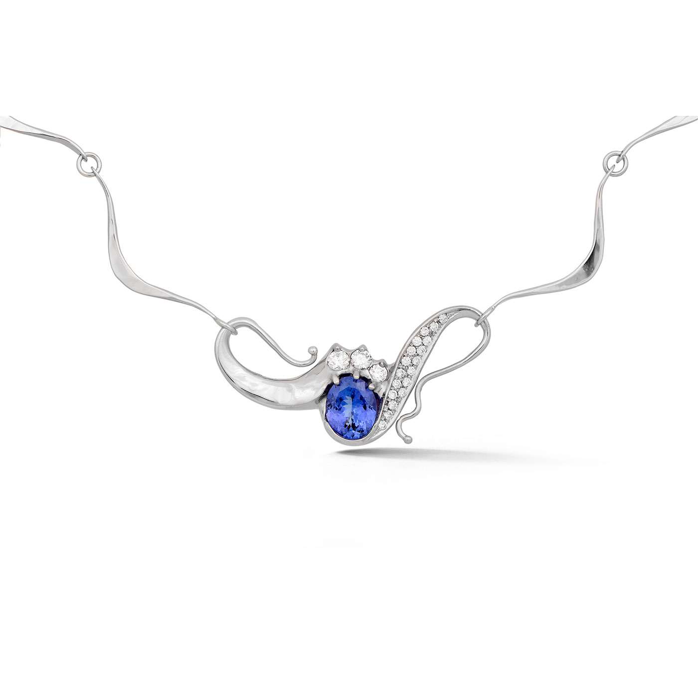 C7451 Oval Tanzanite Asymmetrical Pendant