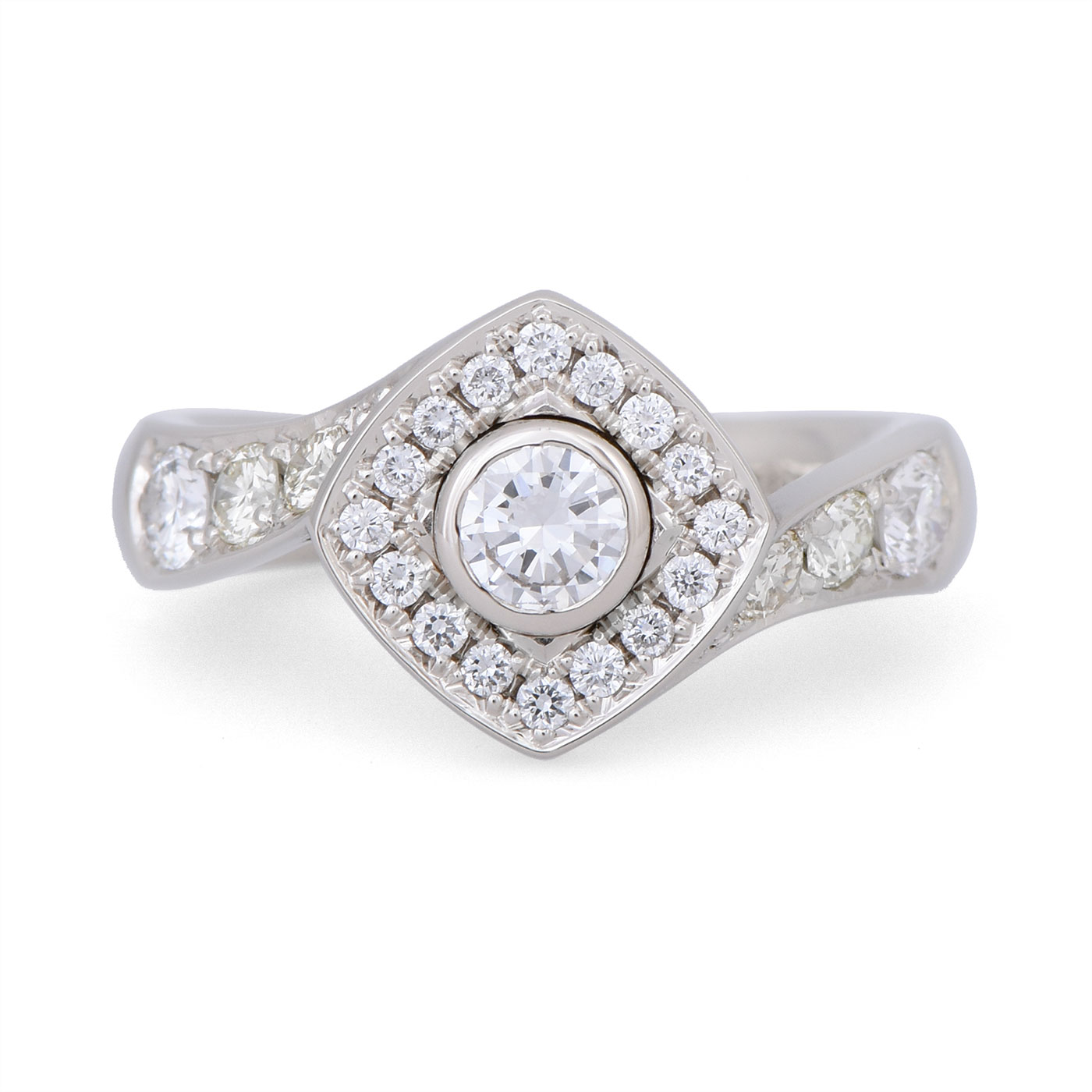 C7910 Diagonal Halo Custom Diamond Ring