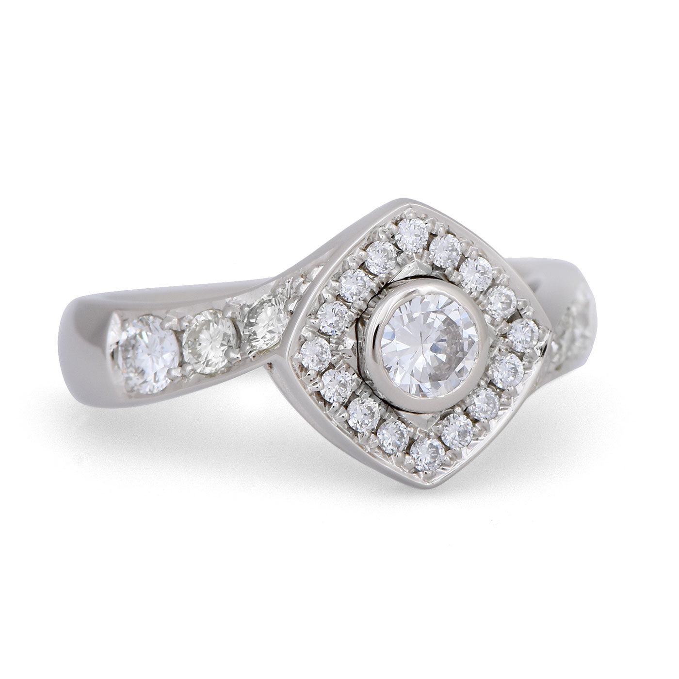 C7910 Diagonal Halo Diamond Ring