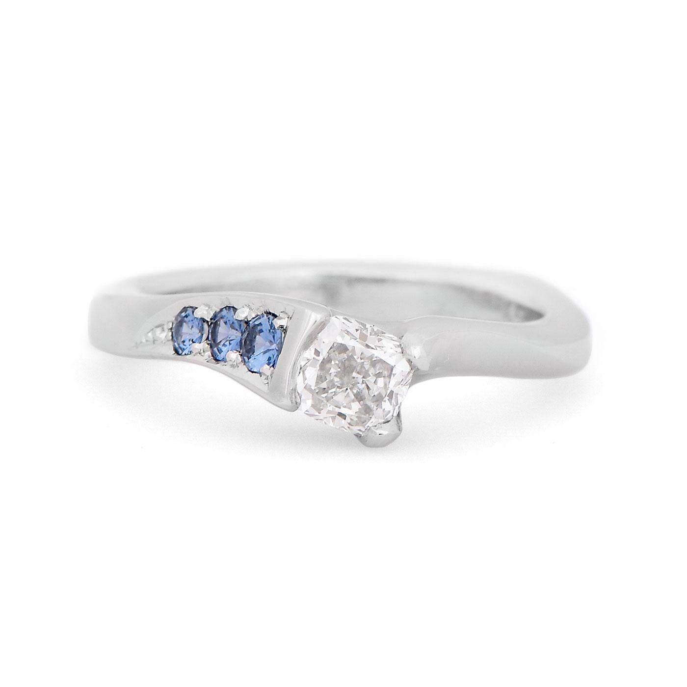 C8064 Diamond and Montana Sapphire Engagement Ring