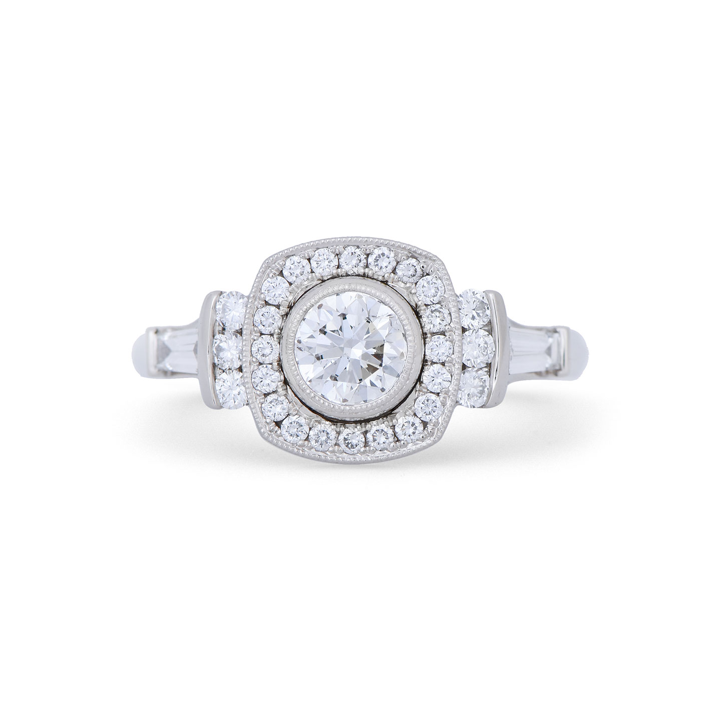 C8247 Art Deco Halo Diamond Engagement Ring