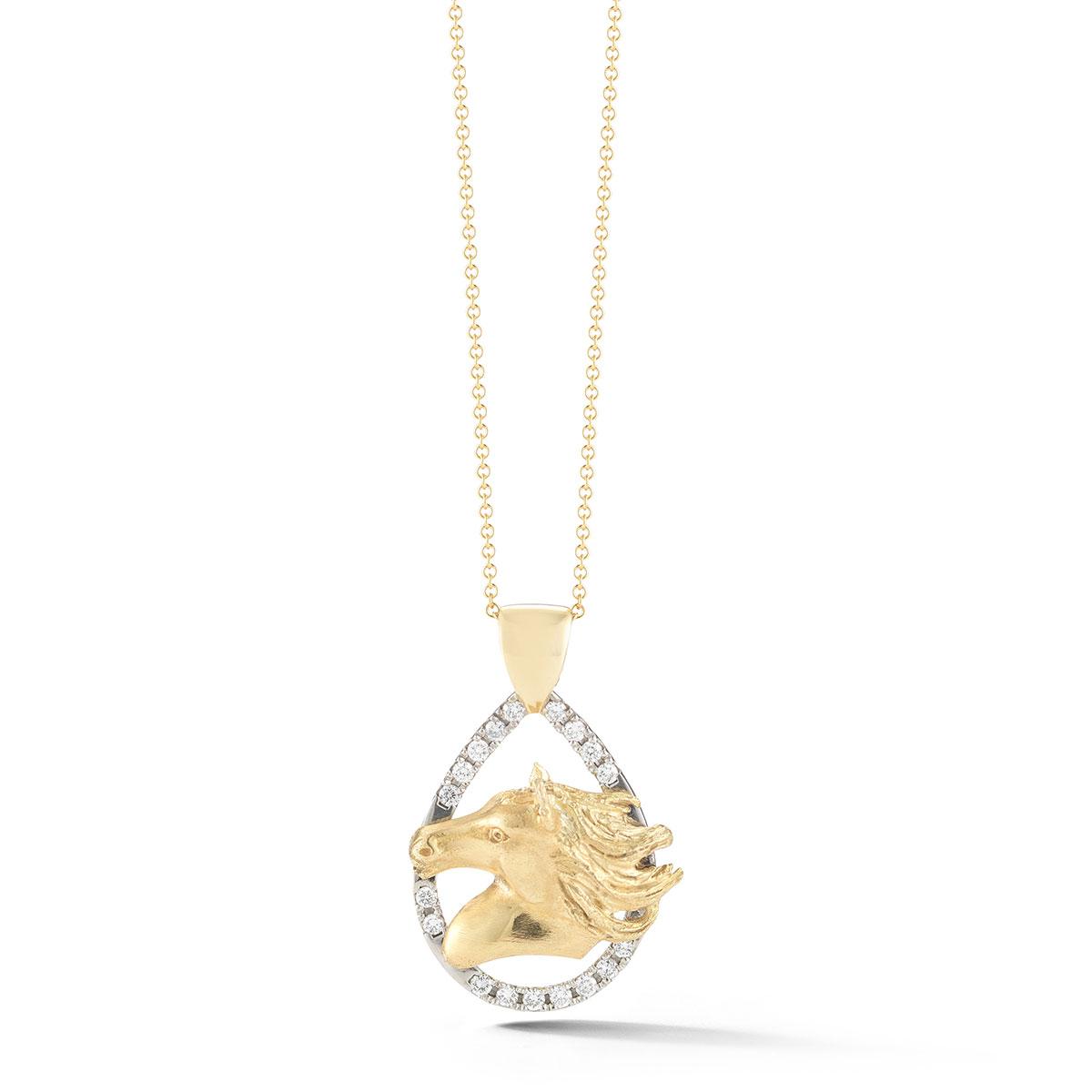 HNP0853 Diamond Horsehead Pendant