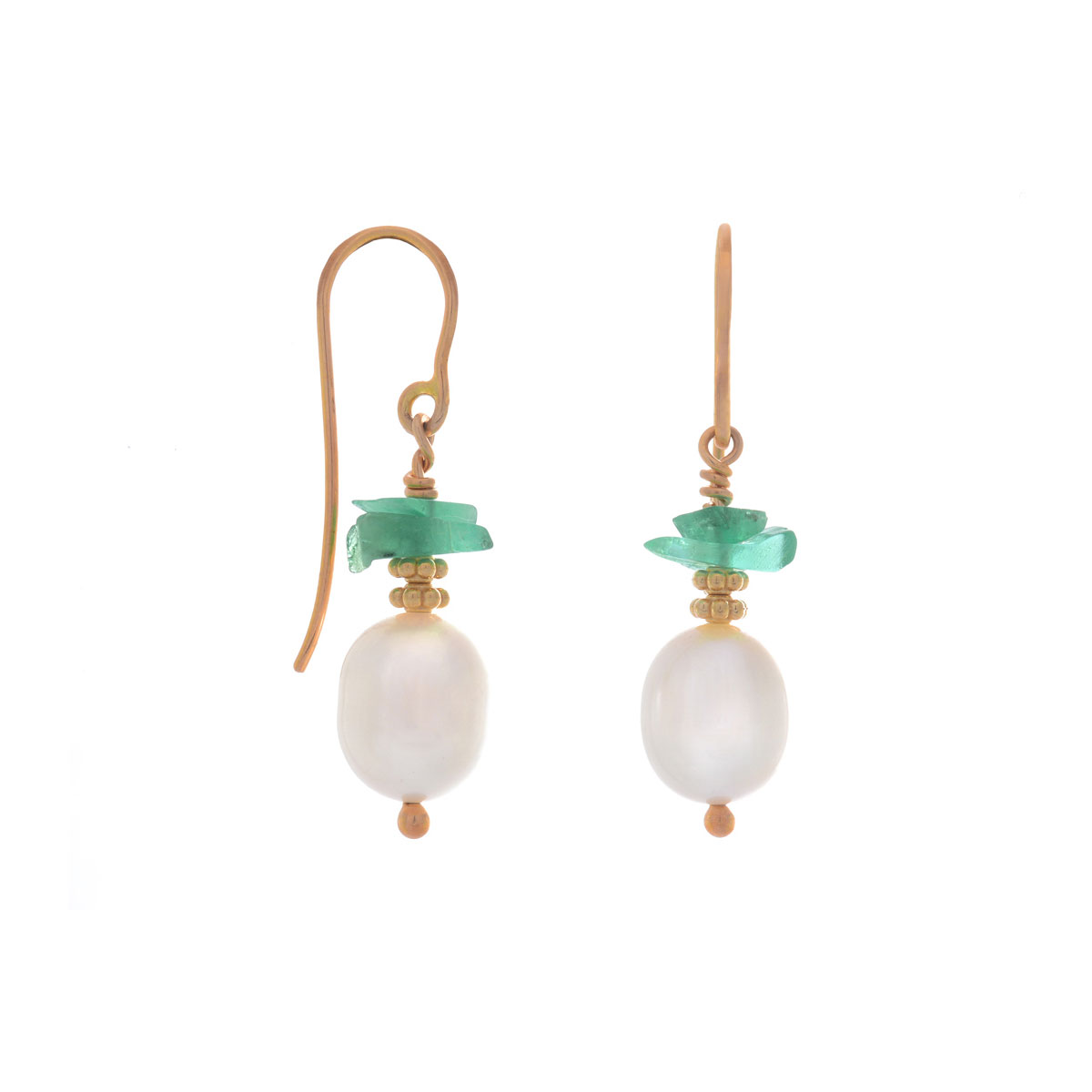 ER0155 Drop Pearl and Gemstone Dangle Earrings