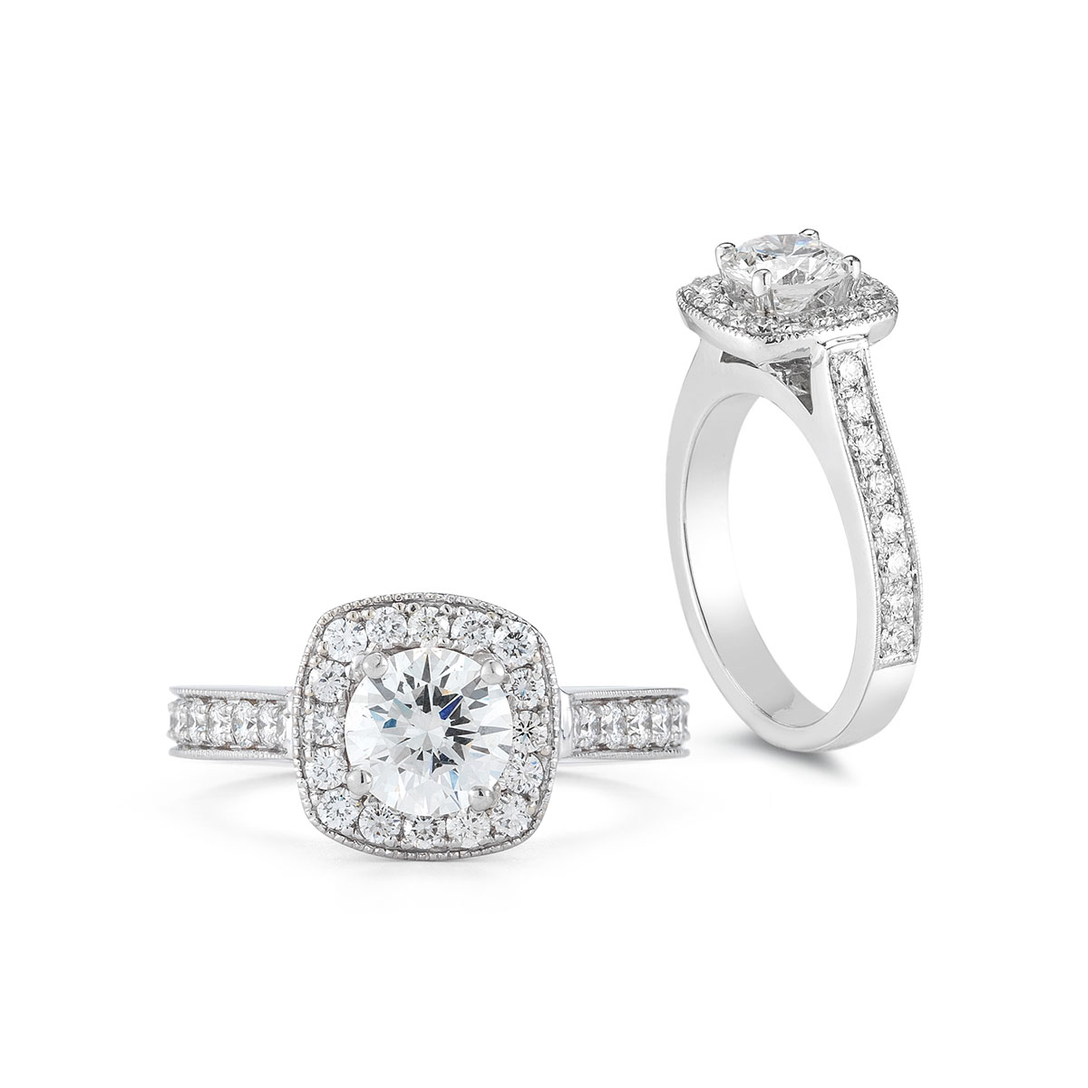 HR0100C Cushion Halo Diamond Ring