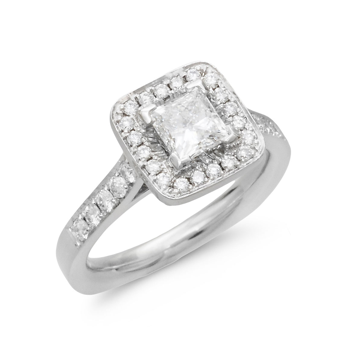 HR0103S Square Halo Princess Cut Diamond Ring