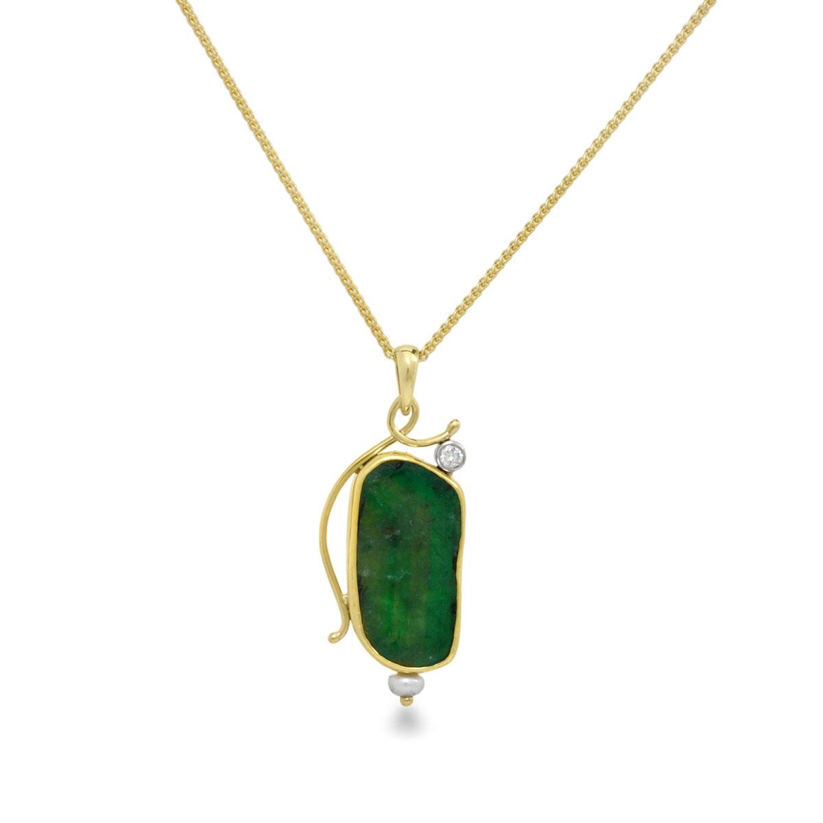 IND0956 Emerald Slice Pendant