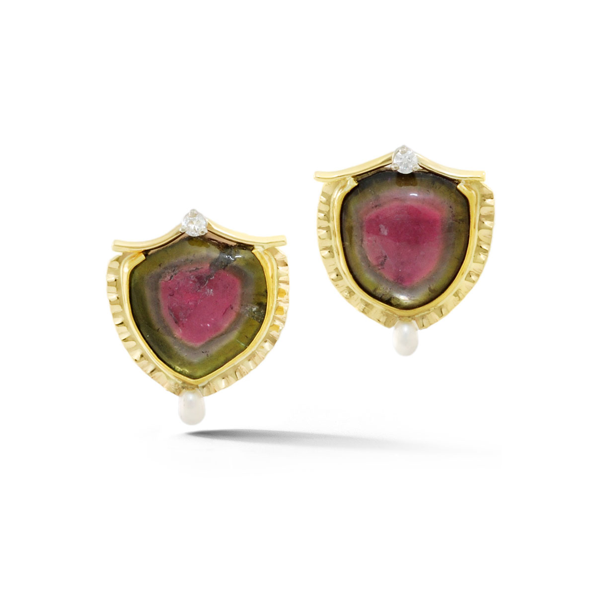 IND0967 Watrermelon Tourmaline Stud Earrings
