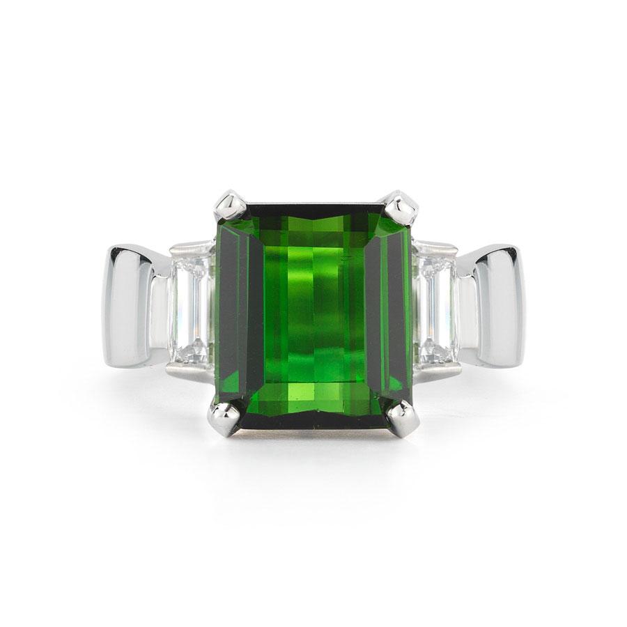 IND0977 Emerald Cut Tourmaline Ring