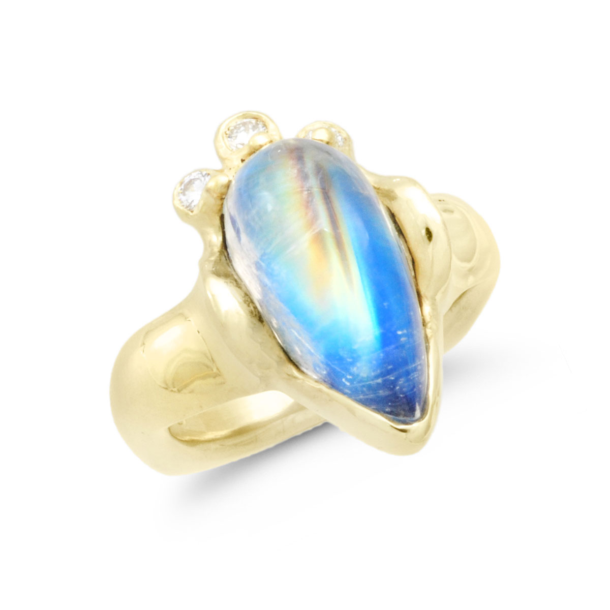 IND0986 Rainbow Moonstone Ring