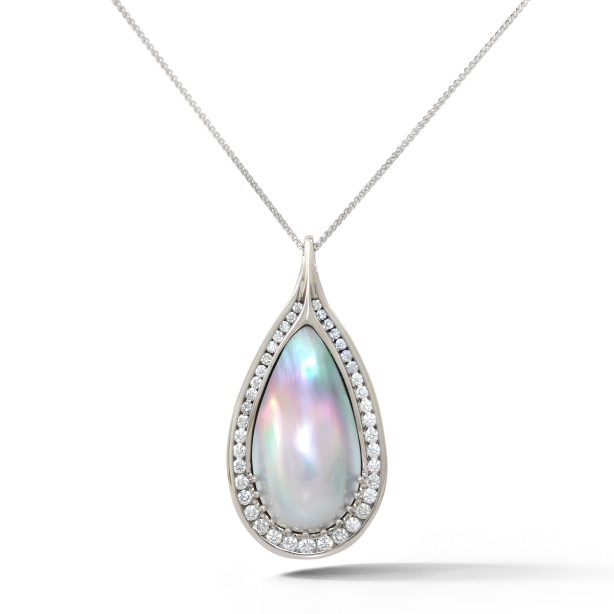 IND0993 Teardrop Pearl and Diamond Pendant