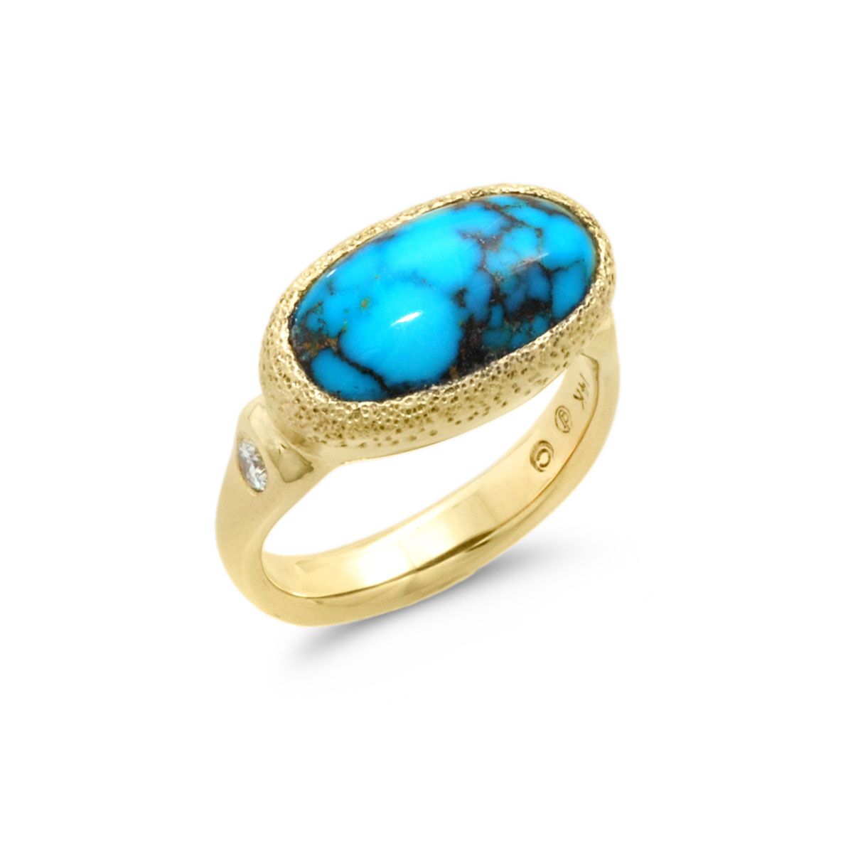 IND0998 Oval Turquoise Ring