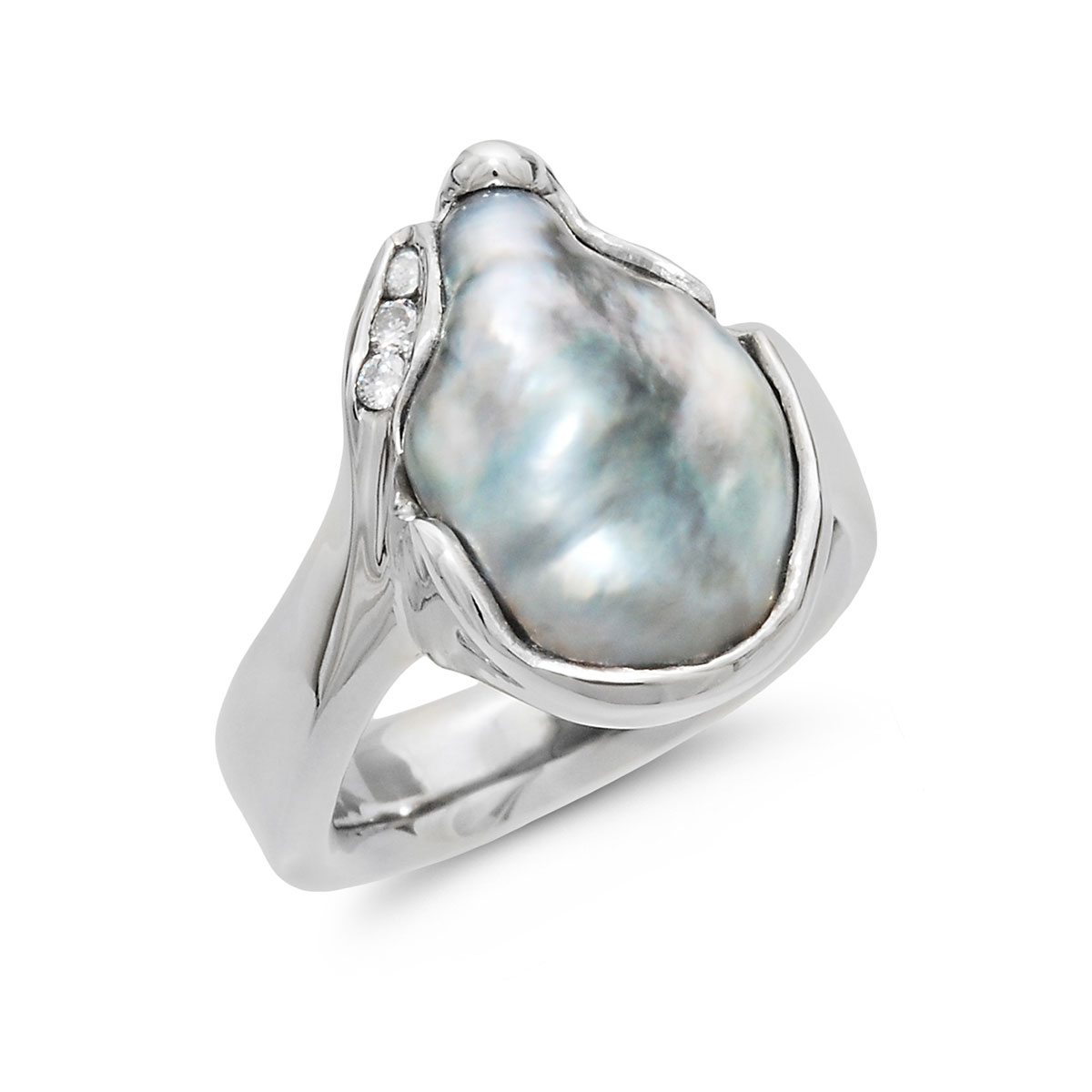 IND1043 Freeform Tahitian Pearl Ring