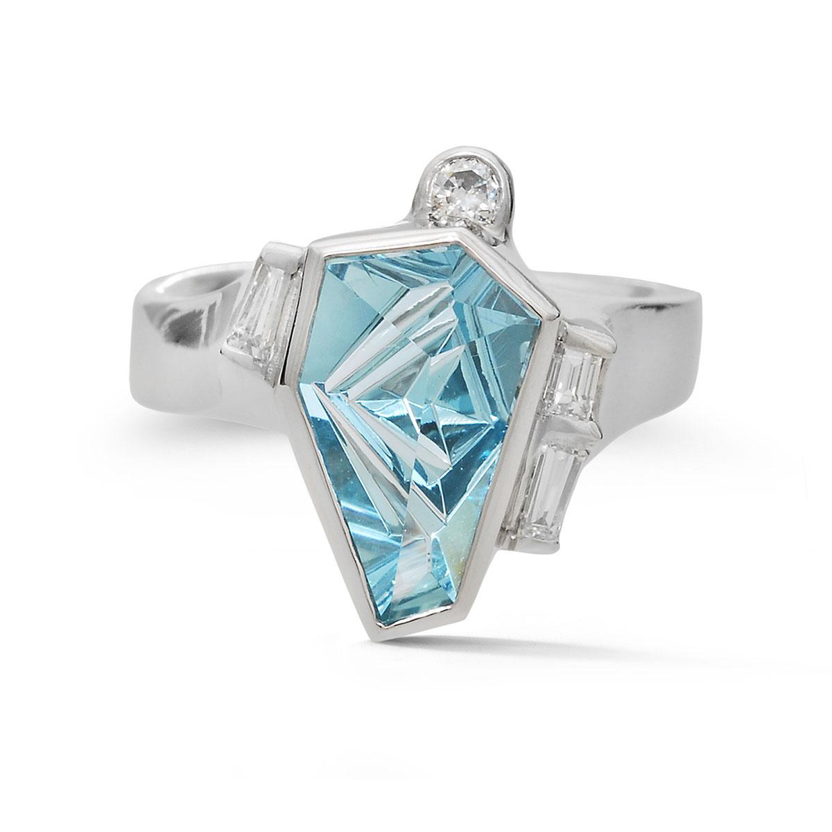 IND1045 Geometric Aquamarine ring
