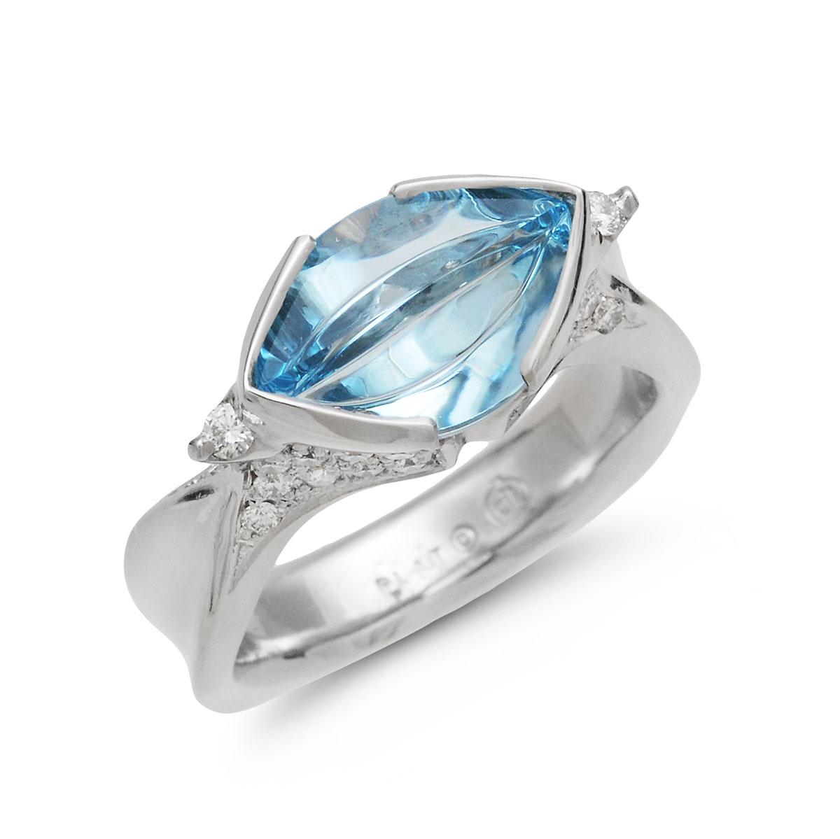 IND1046 Aquamarine Platinum Ring