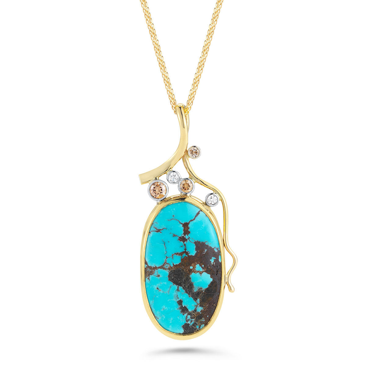 IND1058 Turquoise and Champagne Diamond Pendant