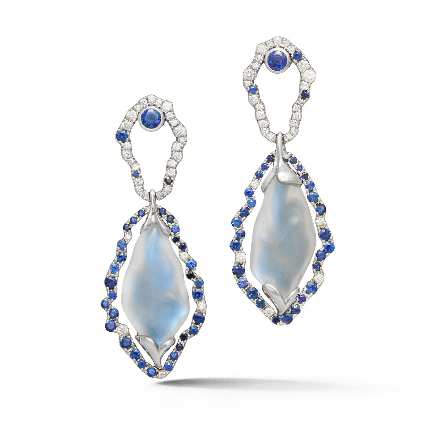 IND1059 Platinum Moonstone and Sapphire Earrings