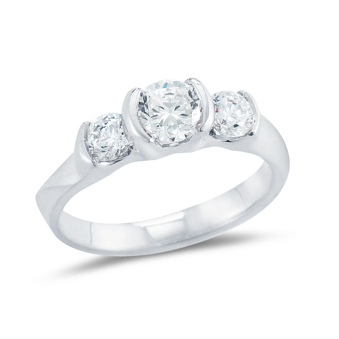 WR0122 Three Diamond Engagement Ring