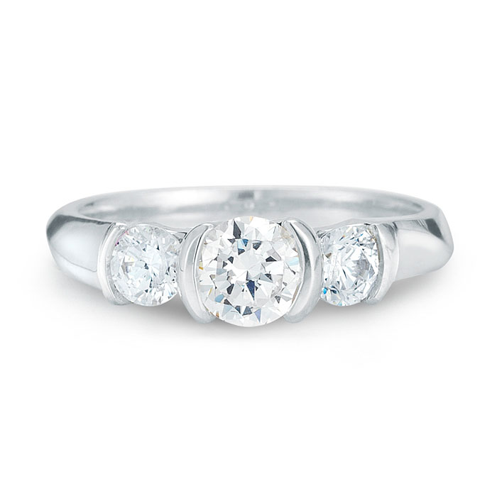 WR0122 Three Diamond Engagement Ring