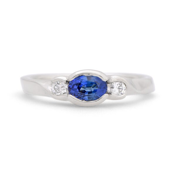 Oval Sapphire and Diamond Ring sideset
