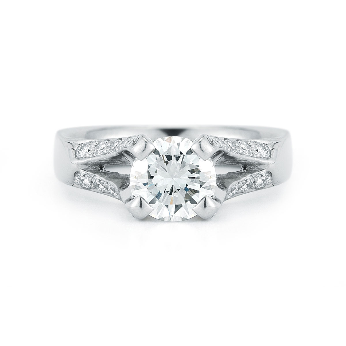 Wr0199 diamond prong engagement ring dejonghe original for Just my style personalized jewelry studio