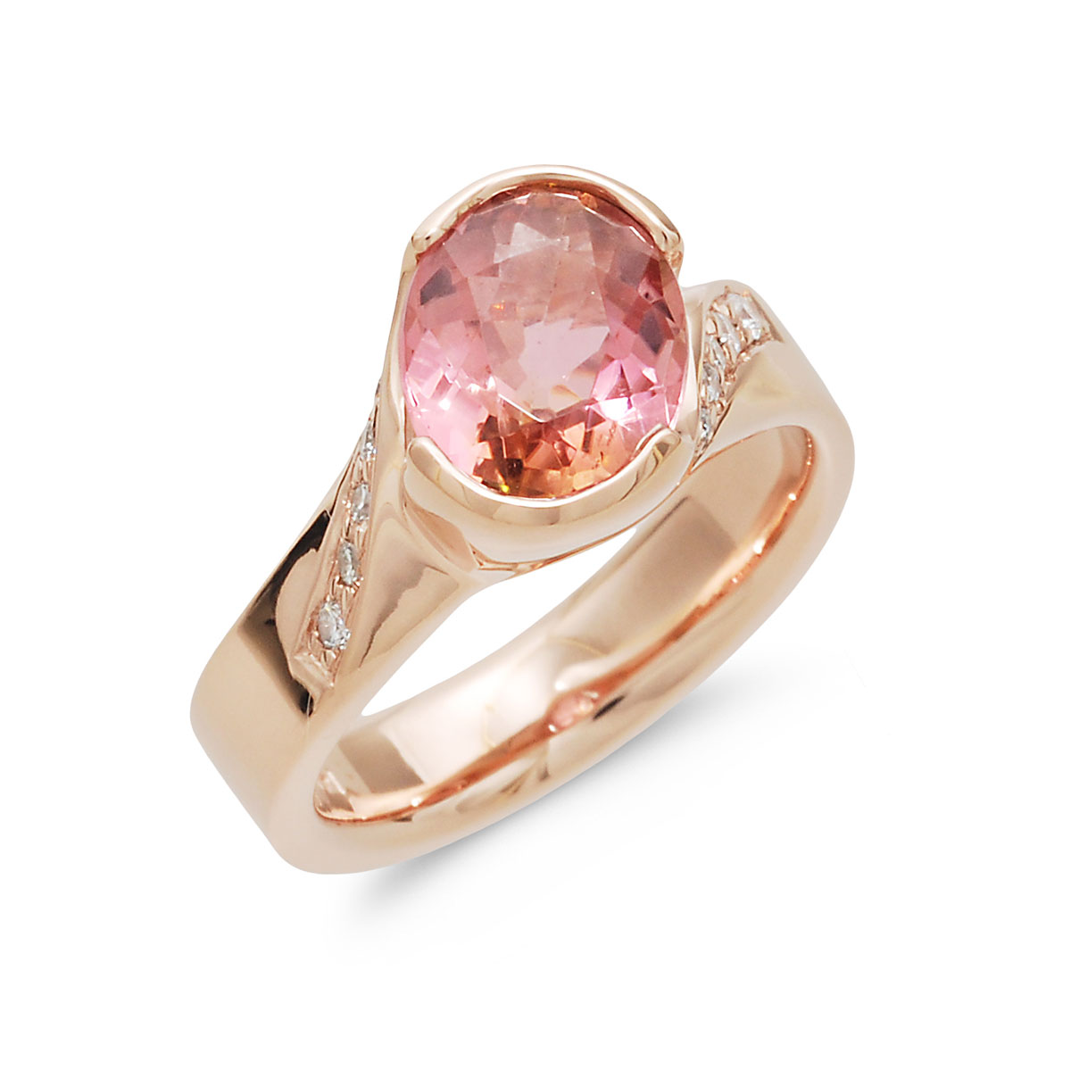 WR0210 Oval Pink Tourmaline Ring