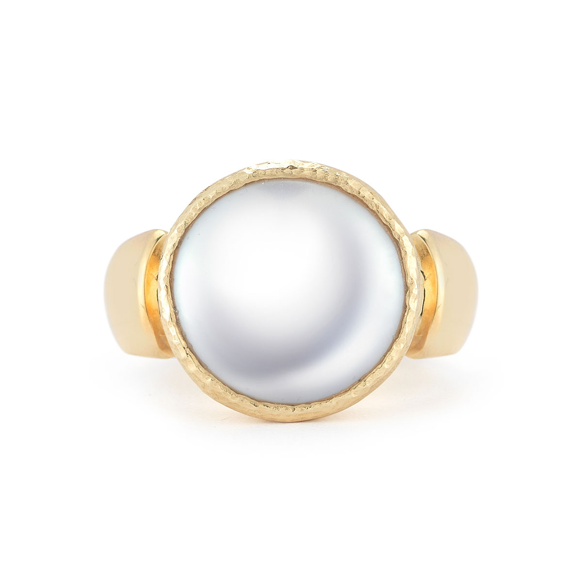 WR0237 Round Coin Pearl Ring