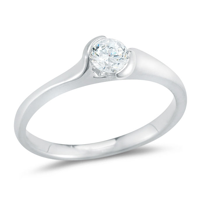 WR0242 Curve Diamond Engagement Ring