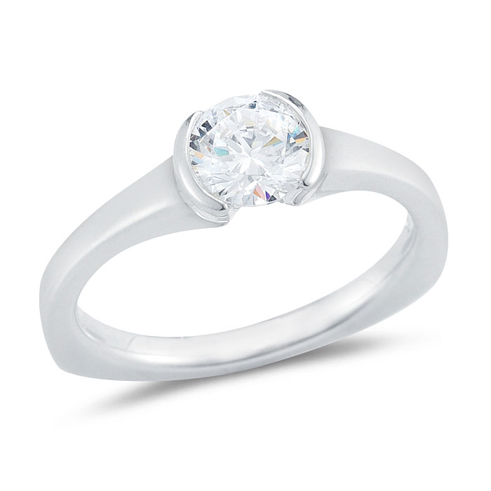 WR0287 Half Bezel Engagement Ring