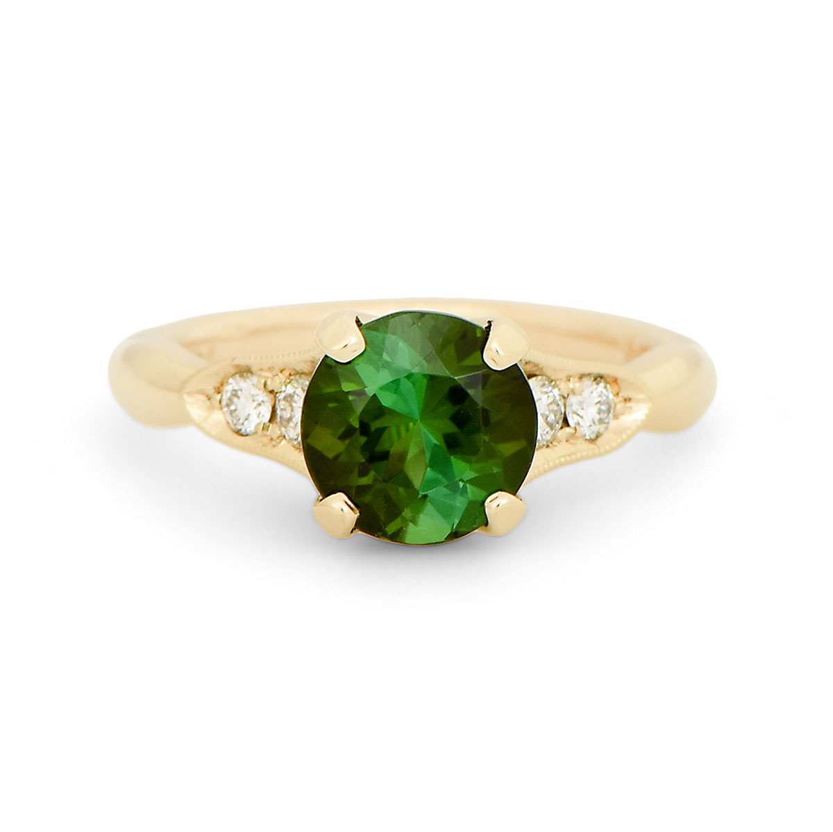 WR0334 Green Tourmaline and Diamond Ring