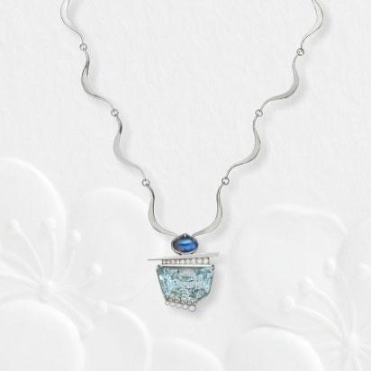 Aquamarine Palladium Pendant