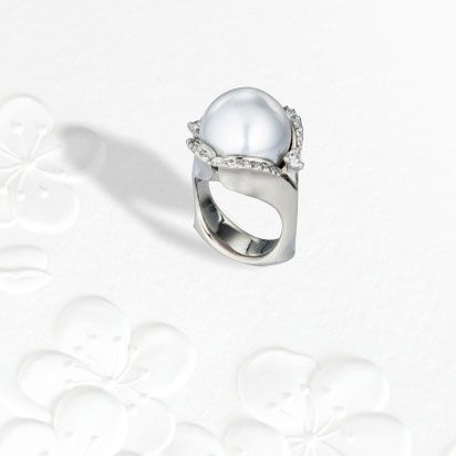 IND0840 Palladium South Sea Pearl Ring