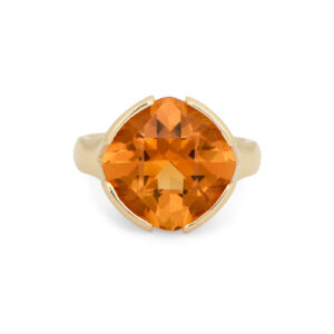 WR0335 Diagonal Citrine Cushion Cut Ring