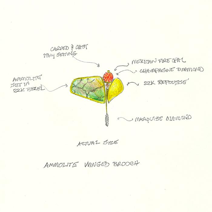 Ammolite brooch sketch