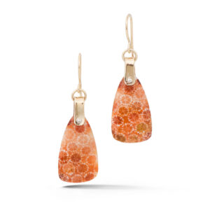 Orange and Red Coral Earrings in yellow gold