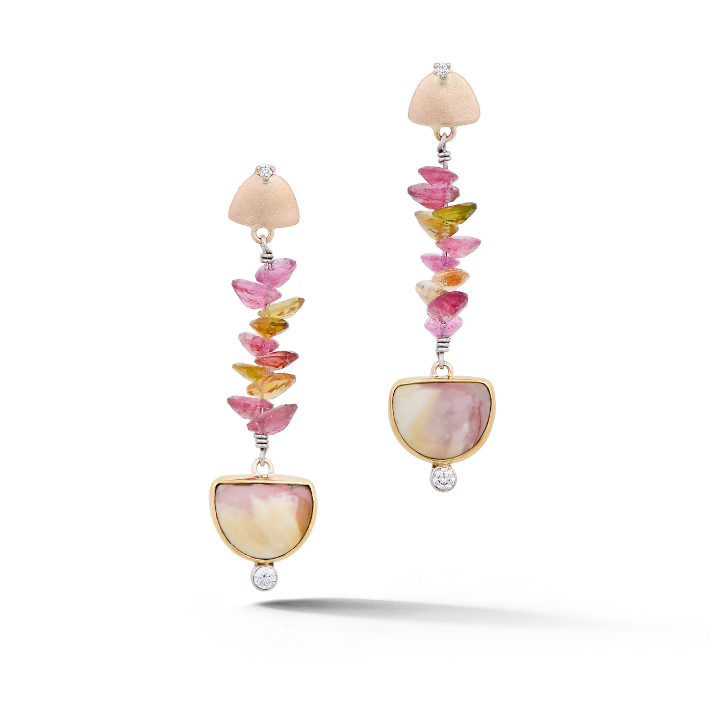 Jasper and Tourmaline Earrings in Gold