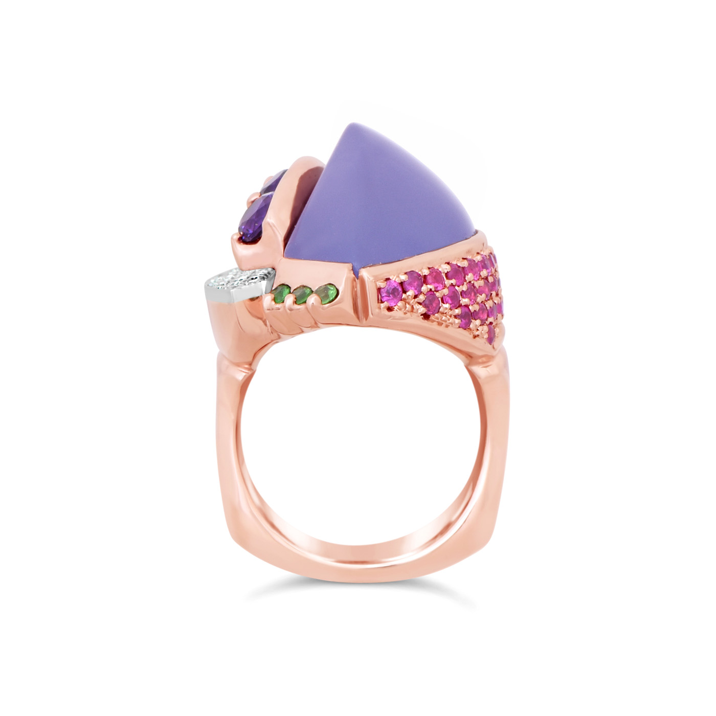Purple Chalcedony and pink sapphire Rose Gold Ring
