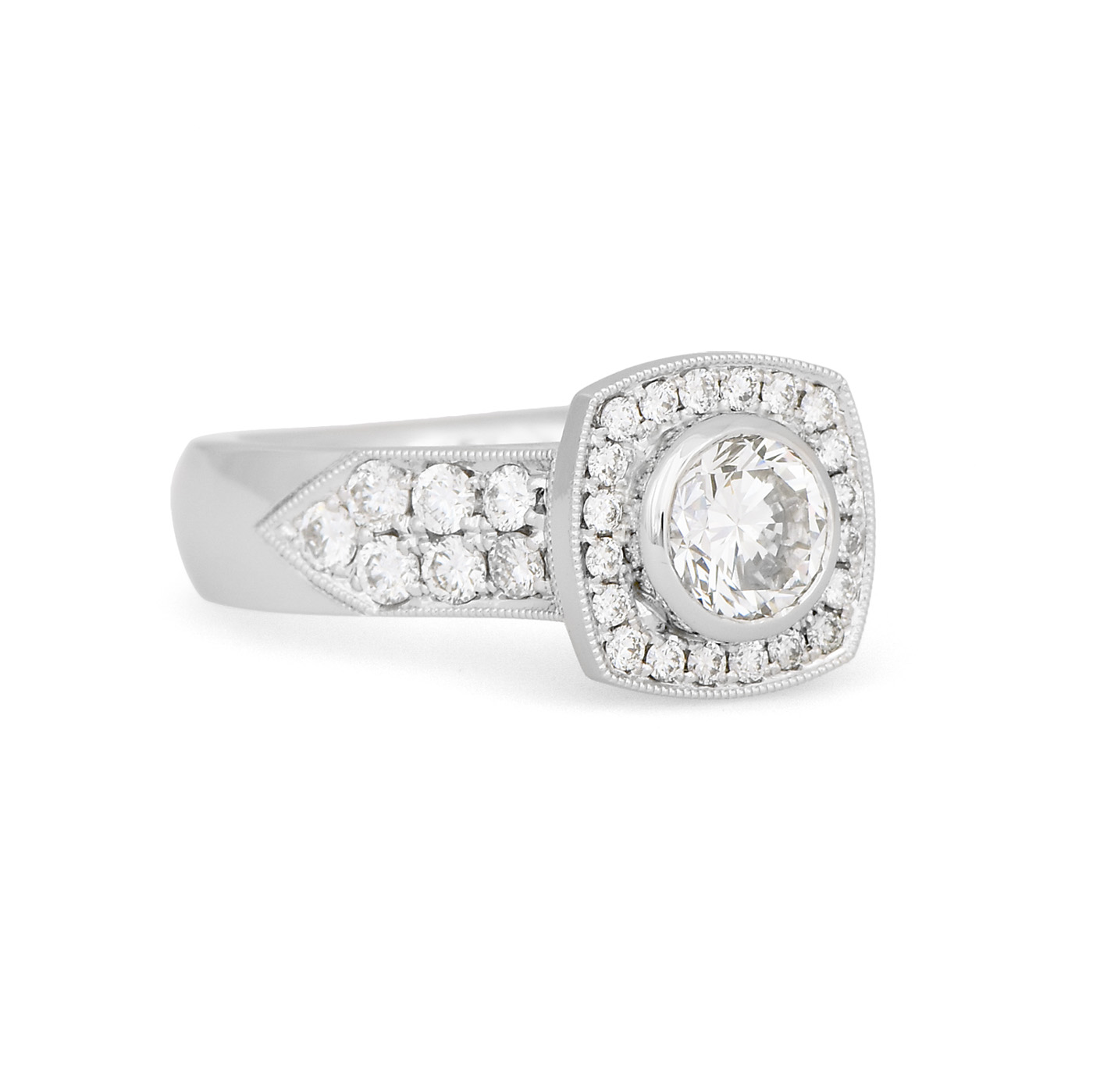 Wide Bezel Set Diamond Halo Ring