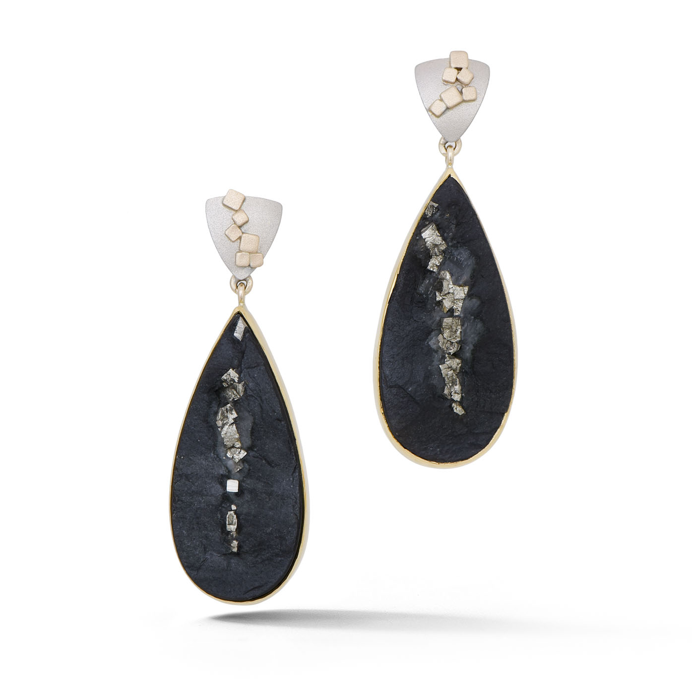 Pyrite in Slate Earrings