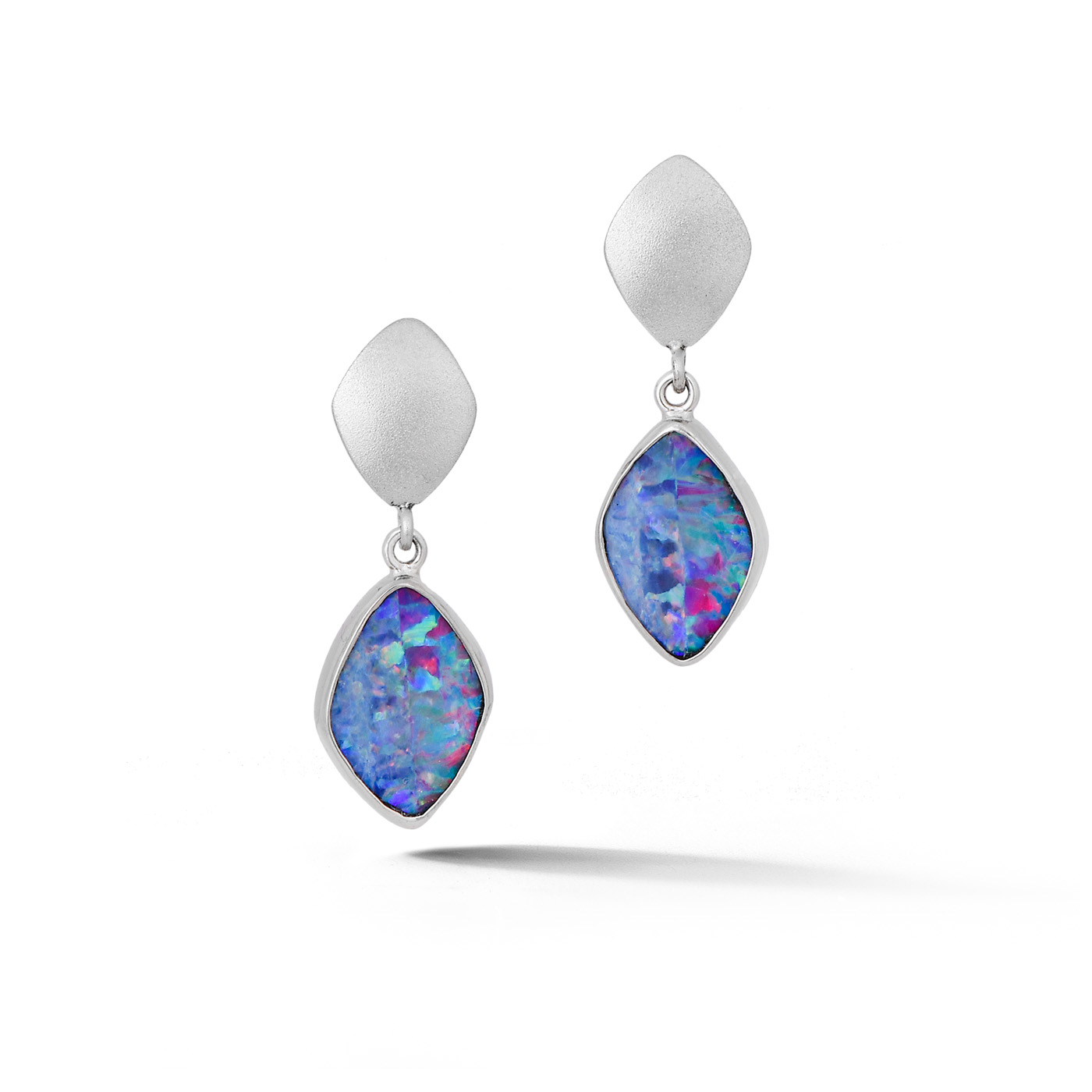 White Gold Opal Earrings Ind1086