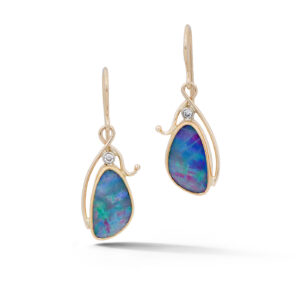 Opal and Diamond Earrings in Gold