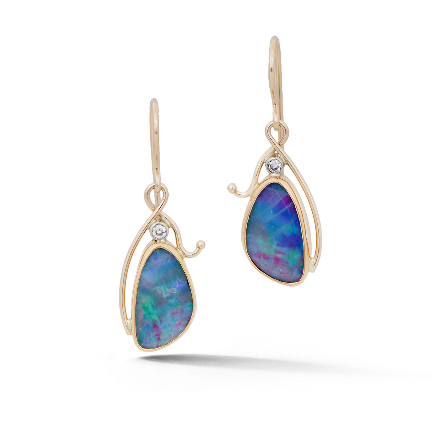 handmade product opal earrings opals black