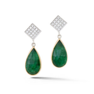 Teardrop Emerald and Diamond Earrings